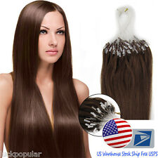 "20"" Remy Human Hair Extensions Micro Ring Loop Bead Tipped Hair Medium Brown US"