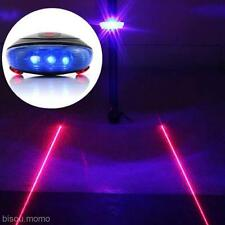 5 Blue LED 2 Red Laser Beam Bicycle Bike Cycling Tail Light Warning Lamp Set New