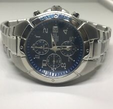 Mens Pulsar PF8189 Chronograph Silver-Tone Stainless Steel Watch With Blue Dial