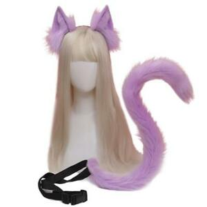 Anime Cosplay Props Cat Ears and Tail Set Plush Furry Animal Ears Hairhoop