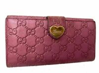 Auth GUCCI GG Pattern Leather Long Wallet Purse Pink 60022270