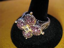 BARBARA BIXBY PINK TOURMALINE TOPAZ RING SIZE 10 SS 18K SILVER GOLD FLOWER Lotus