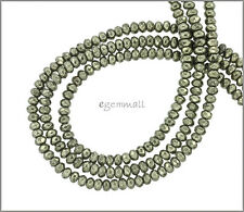 "15.8"" Gold Pyrite Rondelle Roundel Faceted Beads 4mm Grade A #85409"