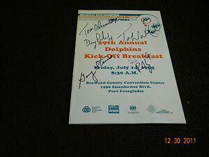MIAMI DOLPHINS 1995 29TH ANNUAL KICKOFF BREAKFAST PROGRAM 7/14/95 AUTOGRAPH (5)