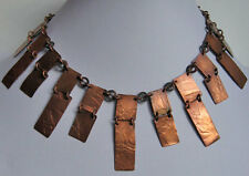 FABULOUS SIGNED VINTAGE ARTICULATED COPPER COLLAR NECKLACE