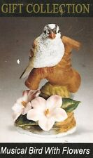 Musical Bird & Pink Flowers Porcelain Figurine Statue Nib Hp