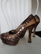 Faith Solo Gil Carvalho Gold Platform Croc Courts  Metallic Leather UK 7