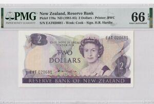 1981 -85 NEW ZEALAND  2 Dollars PMG66 EPQ GEM UNC [P-170a] 'Hardie'