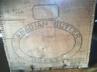 Antique Canadian Butter Quebec Wood Crate 56 Pound Size,  Finger Box Joint