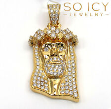 1.89ct Mens 14k Yellow Real Solid Gold Jesus VS Diamond Pendant