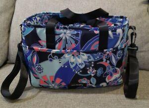 Vera Bradley Stroller Organizer Lotus Flower Swirl Blue Pink Clip On Straps Newu