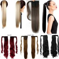 Real Thick Clip In As Human Hair Extensions Pony Tail Wrap On Ponytail Long Hair