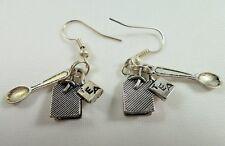 Alice in Wonderland Earrings, Handmade, Tibetan Silver, Tea Bag with Tab & Spoon