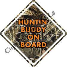Huntin' Buddy on Board in Grass Camo and Orange Decal Window/Car/Truck/Sticker