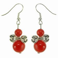 Boucles D'oreilles Argentées Petites fleurs Argent Tibetain Perles Pierre rouge