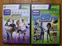USED (Complete) Xbox 360 - Kinect Sports 1 + 2 - Lot of 2 - Free Shipping
