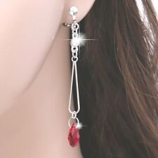 "#E122T Women 2.7"" Long CLIP ON EARRINGS Dangle Teardrop Red 3D Crystal Sexy NEW"
