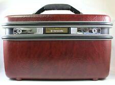Vintage Samsonite Silhouette Travel Train Case Maroon Burgundy No Tray