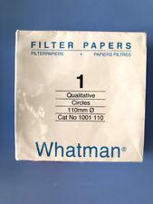 Whatman 1001110 Grade 1 Qualitative Filter Paper, Circles 110 mm  100/Pk