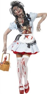 Horror Zombie Countrygirl Costume, Blue, Dress with Latex Chest Pie.. COST-W NEW