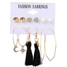 6Pairs Boho Crystal Pearl Tassel Earrings Set Women Ear Stud Dangle Jewelry Gift