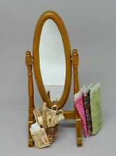 Vintage Seamstress Cheval Mirror With Basket & Fabric Dollhouse Miniature 1:12