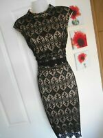 **STUNNING** LIPSY LONDON SIZE 14 BLACK NUDE LACE WIGGLE DRESS *FAST POSTAGE**