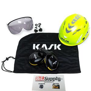 Kask Arborist Tree Climbing Hi-Viz Lime Super Plasma Helmet Visor Bag Ear Muffs