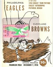 1958 CLEVELAND BROWNS PHILADELPHIA EAGLES PROGRAM + TICKET + NEWSPAPER CLIPPINGS