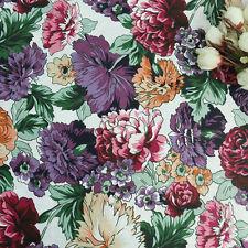 Purple Burgundy Multi-colored Chrysanthemum Floral Print Cotton Poplin Fabric