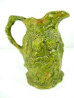 Majolica Style Cherub Centaur Olive Green Pitcher Embossed Raised Ceramic