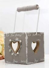 NEW HEART TEA LIGHT CANDLE HOLDER HANGING GREY LANTERN GARDEN VINTAGE WEDDING