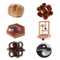 6pcs Wooden Intelligence Toy Chinese Brain Teaser Game Toy 3D Puzzle for Kid