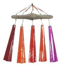 New listing Coastal Shoreline Driftwood Sunset Red Glass Wind Chimes