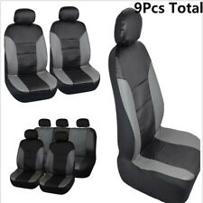 9PCS Black and Gray Truck SUV Breathable PU Leather Car Seat Covers Waterproof