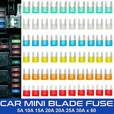 60Pcs 5A 10A 15A 20A 25A 30A Mini Fuse Blade Mixed Set Kit for Auto Car Truck UK