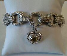 Judith Ripka Sterling Silver CZ Charm Toggle Bracelet Citrine Heart Enhancer