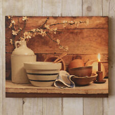 New Antique Crocks Bowls Country Kitchen Lighted Candle Wall Art Picture