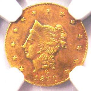 1870 Liberty California Gold Dollar G$1 Coin BG-1203 - Certified NGC AU Detail!