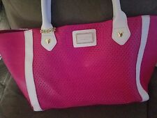 Betsy Johnson LARGE tote - pink w black striped bag and keychain.. MSRP $118.00