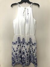 NWT PARKER Sz S EMBROIDERED SCALLOPED HEM HALTER NECK DRESS $225