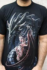 DARK WEAR Gothic Fantasy BLACK COTTON Dragon Women T SHIRT MENS TOP XL Cool