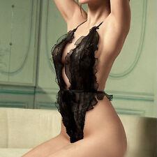 Lady Sexy Lingerie Lace Dress Underwear Sleepwear G-string BabyDoll Night Black