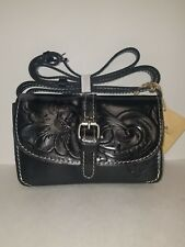 Patricia Nash Black Leather Tooled Torri Crossbody Women Purse Bag NWT W31