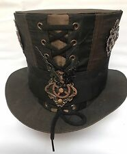 Steampunk Nero / Rame Tafeta TOP HAT con cornici in metallo & Cogs 59 cm L'UNA