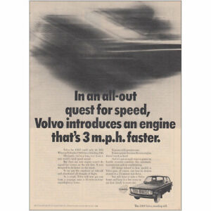 1968 Volvo: In An All Out Quest for Speed Vintage Print Ad