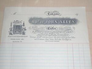 1908 John Allen Cutler&Ironmonger Bridge St Tadcaster Illustrated Top Billhead