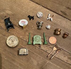 Vintage Lot Miniature Dollhouse Accessories Dishes Brass Toaster Wood Clock