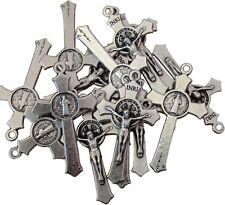 LOT SET 15 St Saint Benedict Crucifix Cross Silver Tone Rosary Pendant 1.45 inc