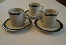 3 Sets Mint MCM American Airlines 1st Class Demitasse Cup Saucer Sterling China